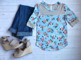 Amber Blue Floral 3/4 Sleeve