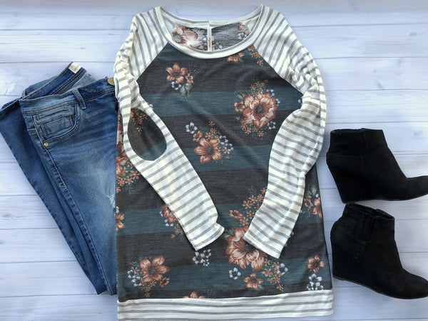 Floral & Stripe Tunic