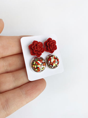 Double Earring Set - Red Succulent / Christmas Glitter