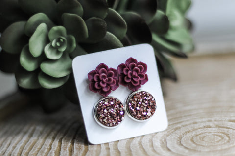 Double Set - Burgundy Succulent