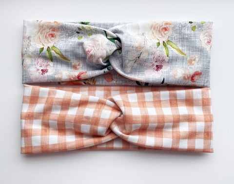 Peach Gingham/Gray Headband Double Pack