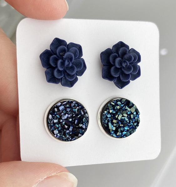 Double Set - Navy Succulent