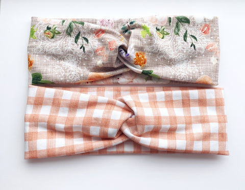 Peach Gingham/Tan Headband Double Pack