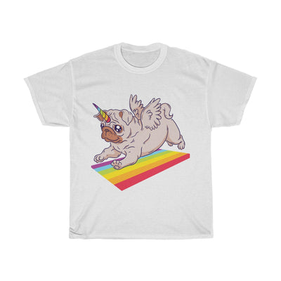 Pug Unicorn Playing - Unisex Heavy Cotton Tee