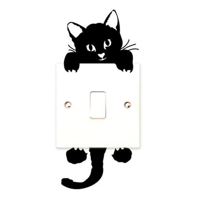 Black Cat Switch/Wall Sticker Decal On Offer