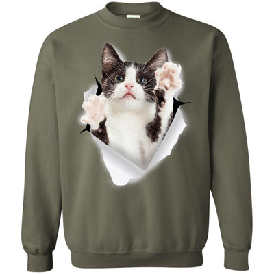 Black & White Reaching Cat Crewneck Pullover Sweatshirt