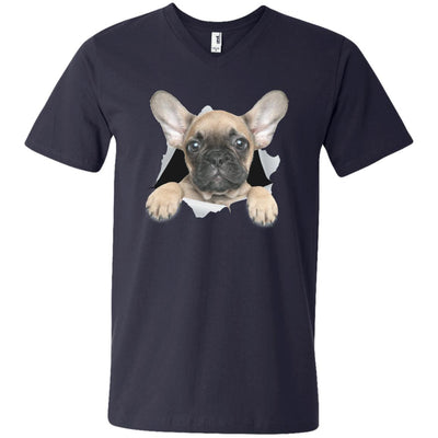 French Bulldog Pup Men's Printed V-Neck T-Shirt