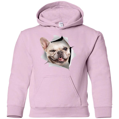 Winking Frenchie Youth Pullover Hoodie
