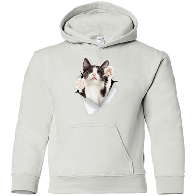 Black & White Reaching Cat Youth Pullover Hoodie