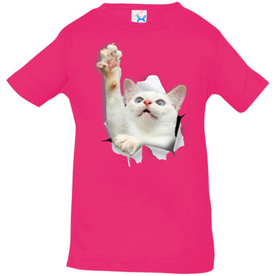 White Cat Reaching Infant Jersey T-Shirt