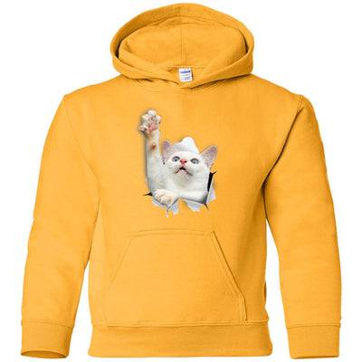 White Cat Reaching Youth Pullover Hoodie