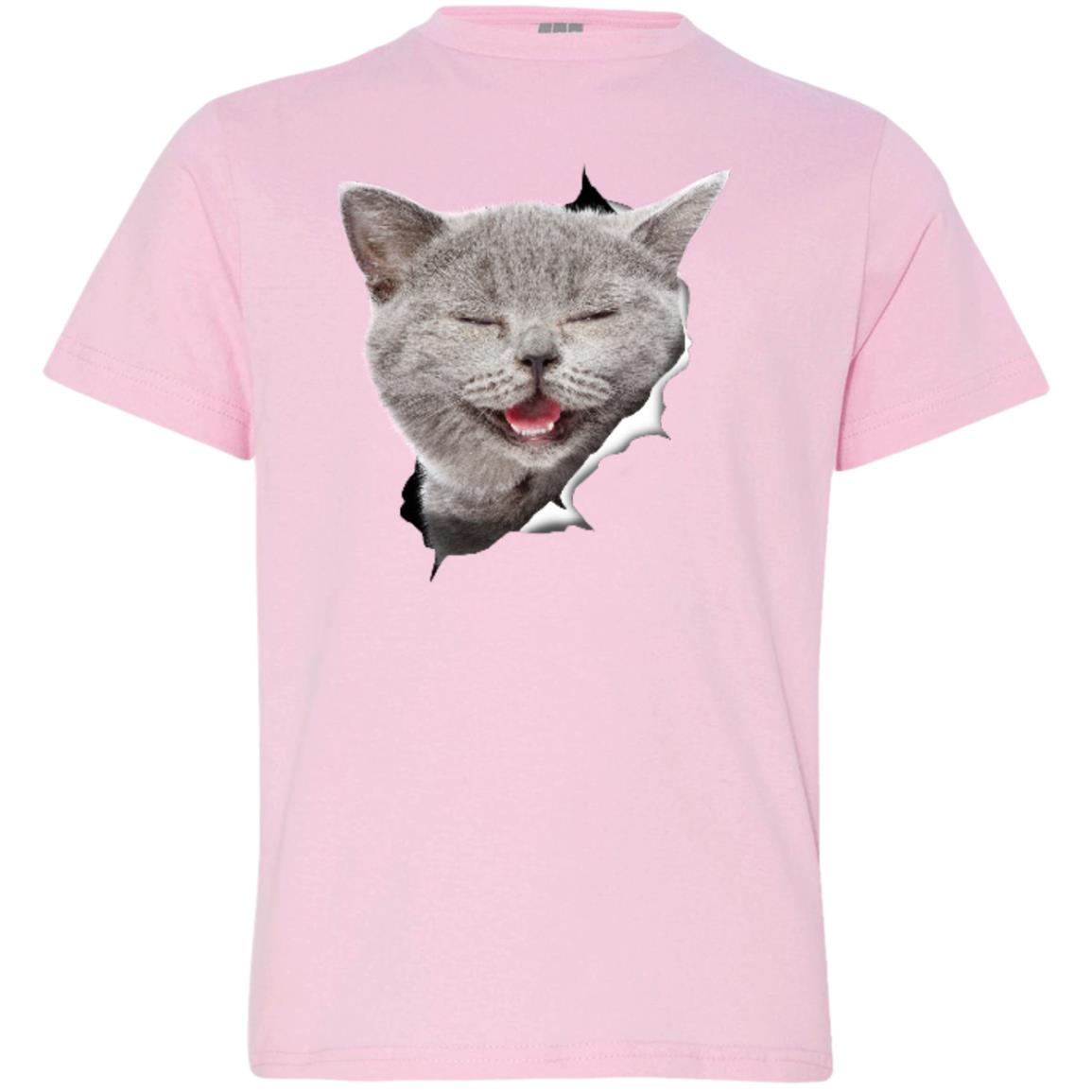 Grey Cat Laughing Youth Jersey T-Shirt
