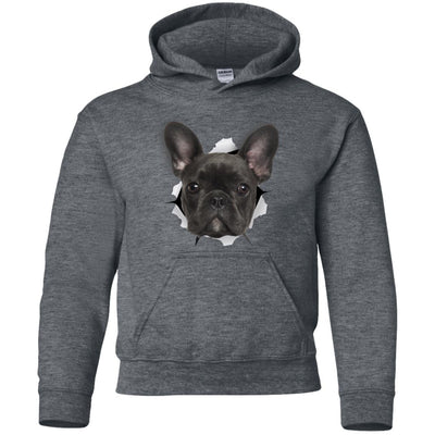 Black Frenchie Youth Pullover Hoodie