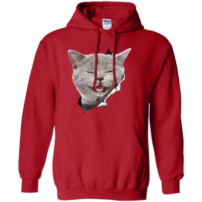 Grey Cat Laughing Pullover Hoodie