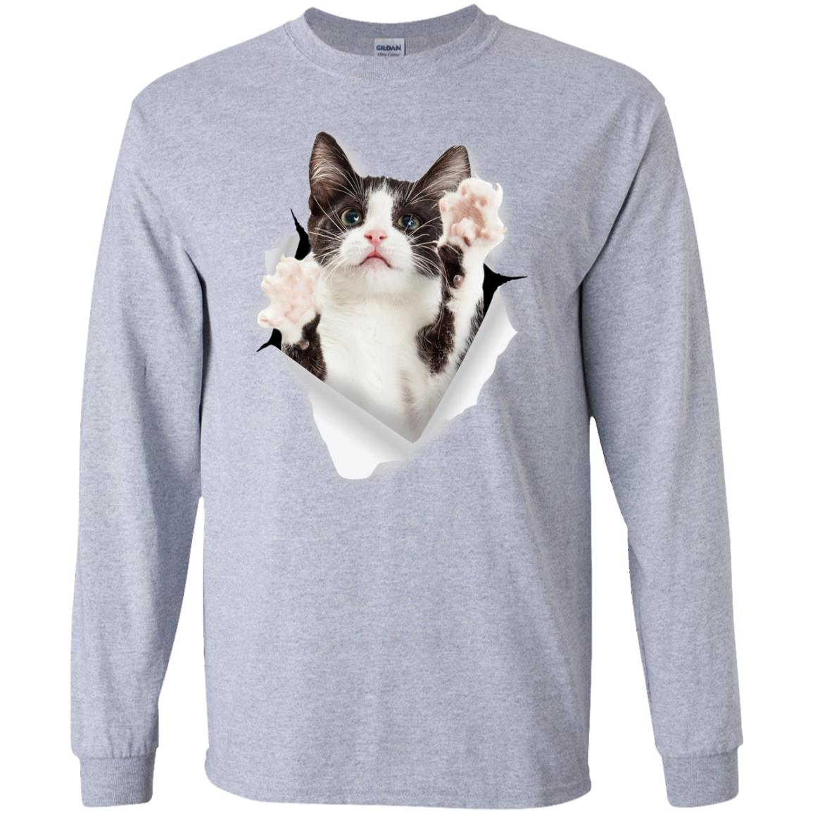 Black & White Reaching Cat Long Sleeve Ultra Cotton T-Shirt