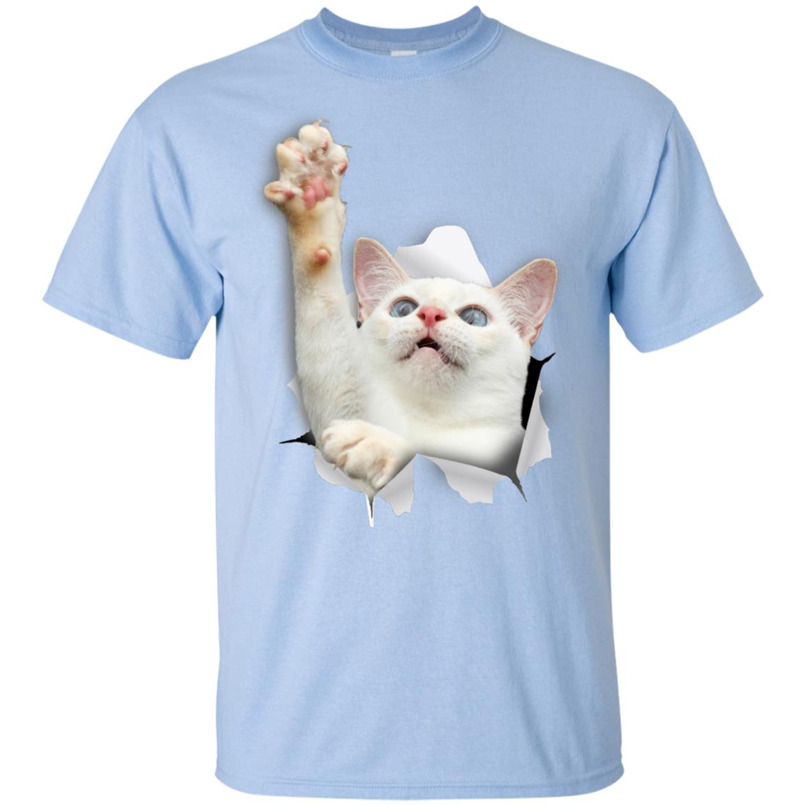 White Cat Reaching Youth Cotton T-Shirt