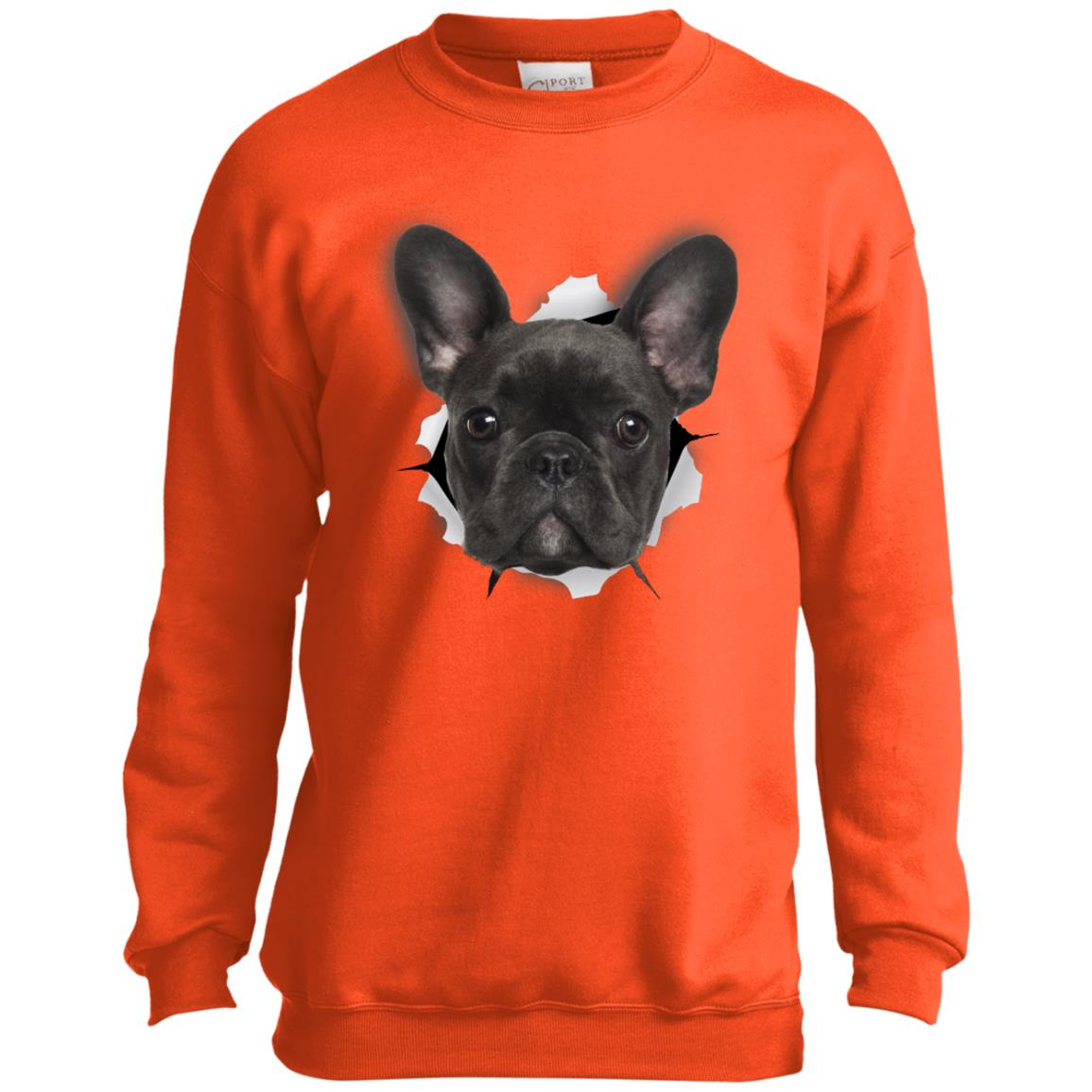 Black Frenchie Youth Crewneck Sweatshirt