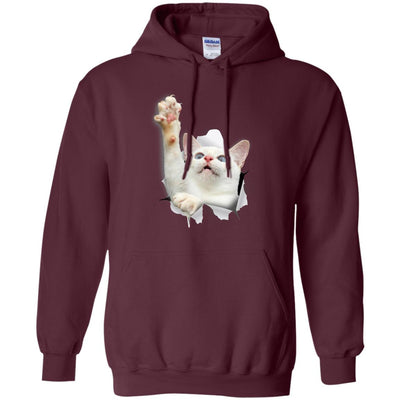White Cat Reaching Pullover Hoodie
