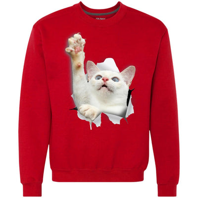 White Cat Reaching Heavyweight Crewneck Sweatshirt