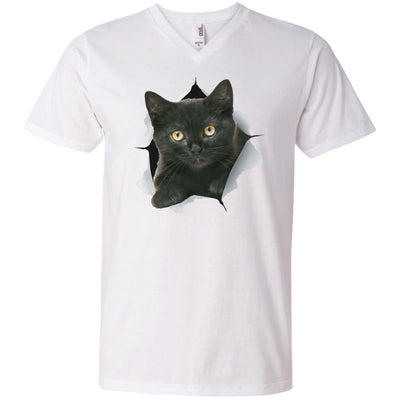 Black Kitten Men's Printed V-Neck T-Shirt