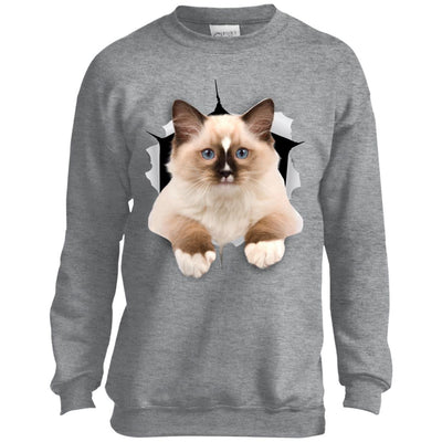 Brown Ragdoll Cat Youth Crewneck Sweatshirt