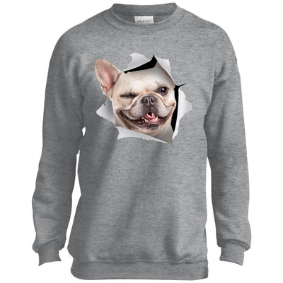 Winking Frenchie Youth Crewneck Sweatshirt
