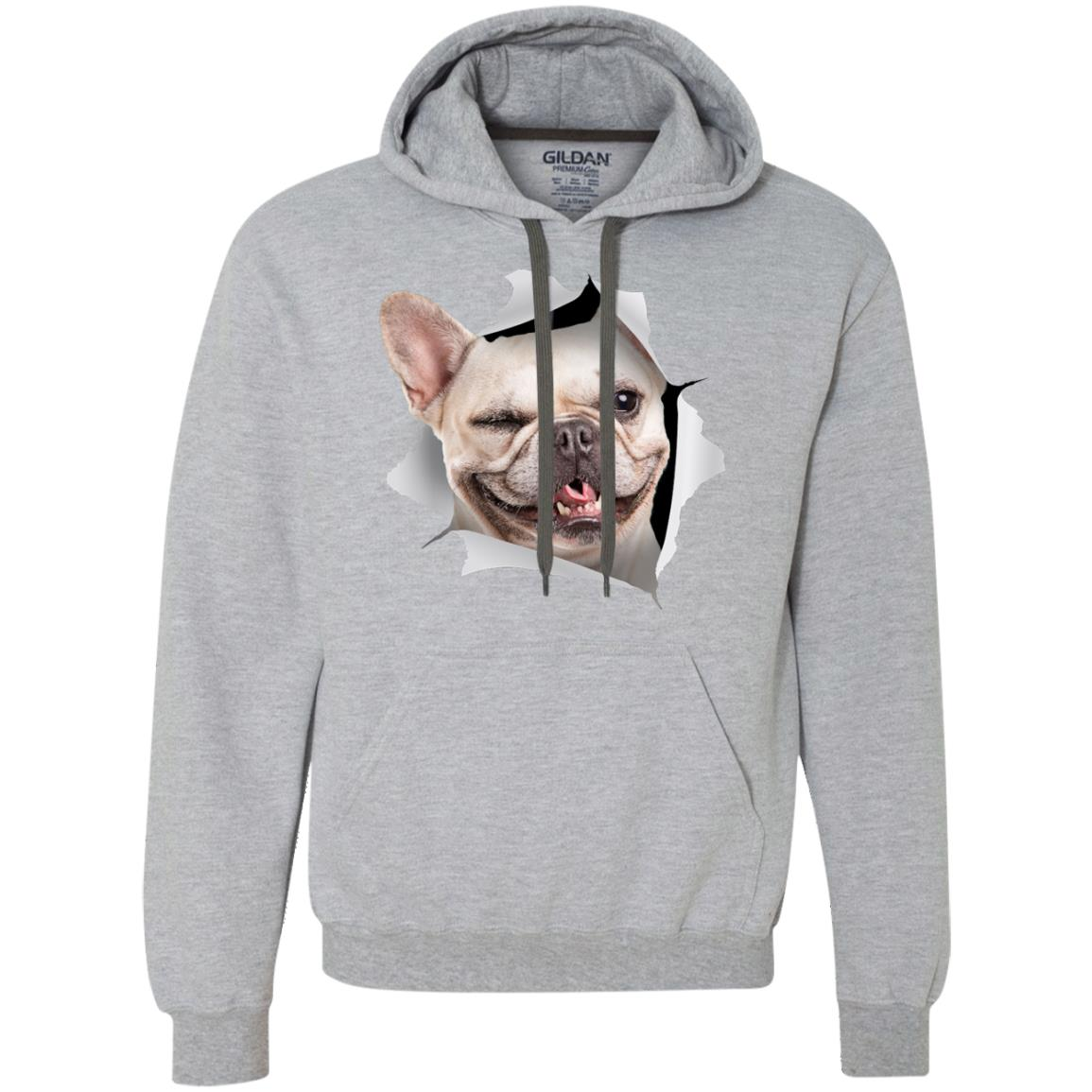 Winking Frenchie Heavyweight Pullover Fleece Hoodie