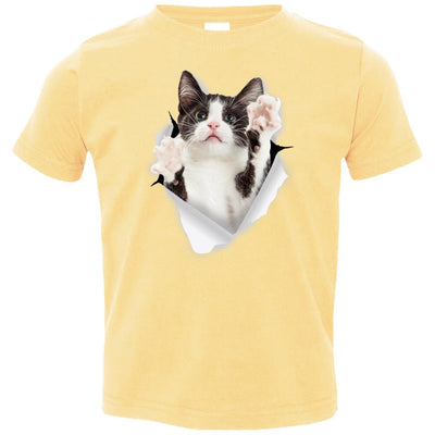 Black & White Reaching Cat Toddler Jersey T-Shirt