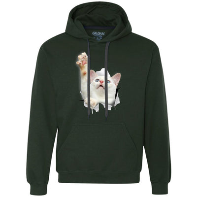 White Cat Reaching Heavyweight Pullover Fleece Hoodie