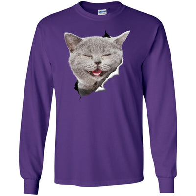 Grey Cat Laughing Long Sleeve Ultra Cotton T-Shirt
