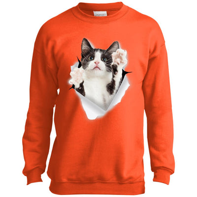 Black & White Reaching Cat Youth Crewneck Sweatshirt