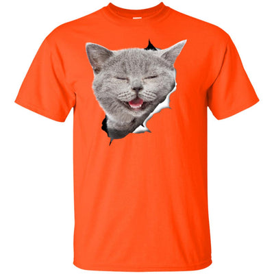 Grey Cat Laughing Youth Cotton T-Shirt