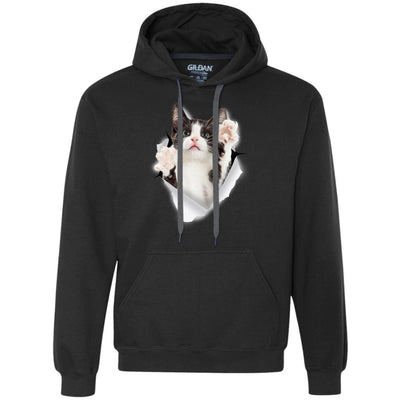 Black & White Reaching Cat Heavyweight Pullover Fleece Hoodie