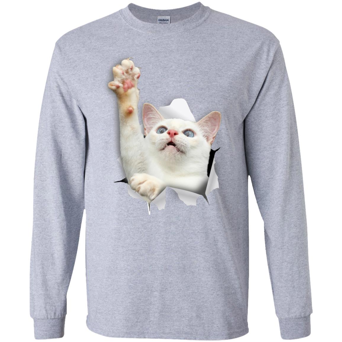 White Cat Reaching Long Sleeve Ultra Cotton T-Shirt