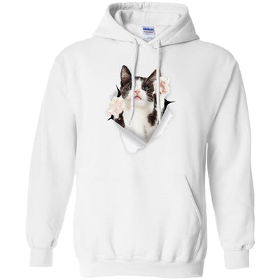 Black & White Reaching Cat Pullover Hoodie