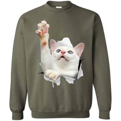 White Cat Reaching Crewneck Pullover Sweatshirt