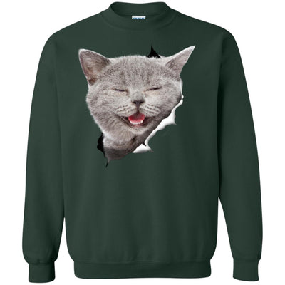 Grey Cat Laughing Crewneck Pullover Sweatshirt