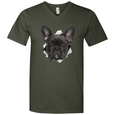 Black Frenchie Men's Printed V-Neck T-Shirt