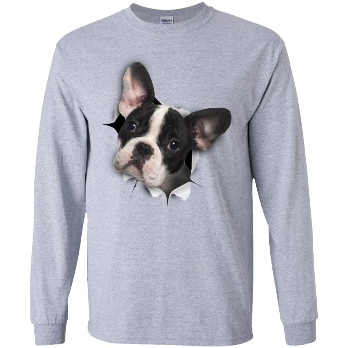 Black & White Frenchie Long Sleeve Ultra Cotton T-Shirt