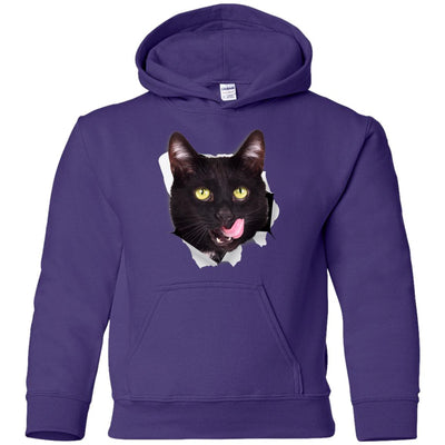 Black Cat Licking Youth Pullover Hoodie