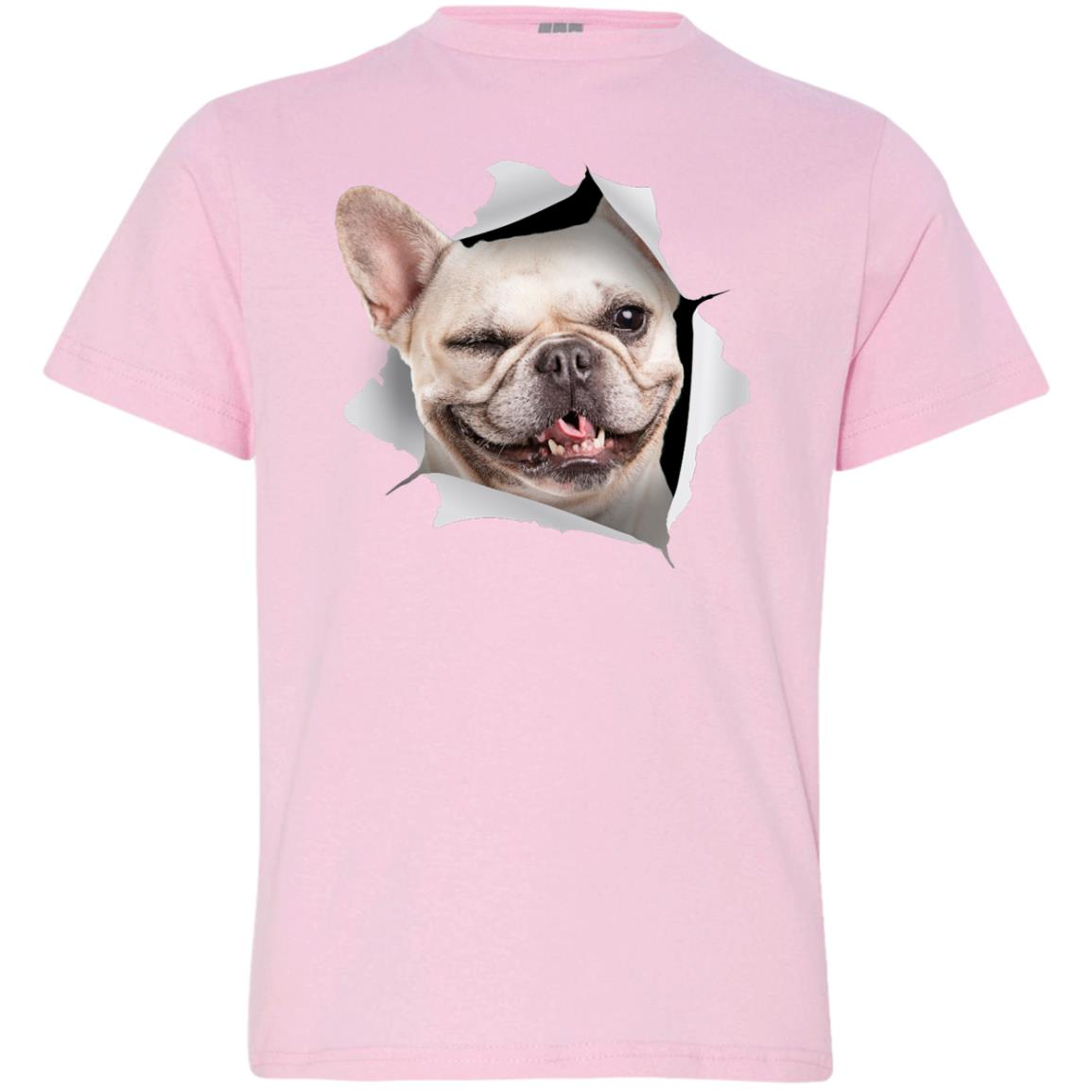 Winking Frenchie Youth Jersey T-Shirt