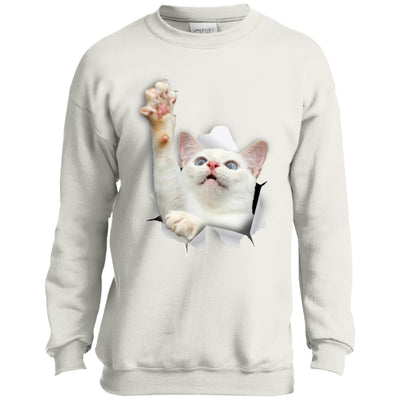 White Cat Reaching Youth Crewneck Sweatshirt