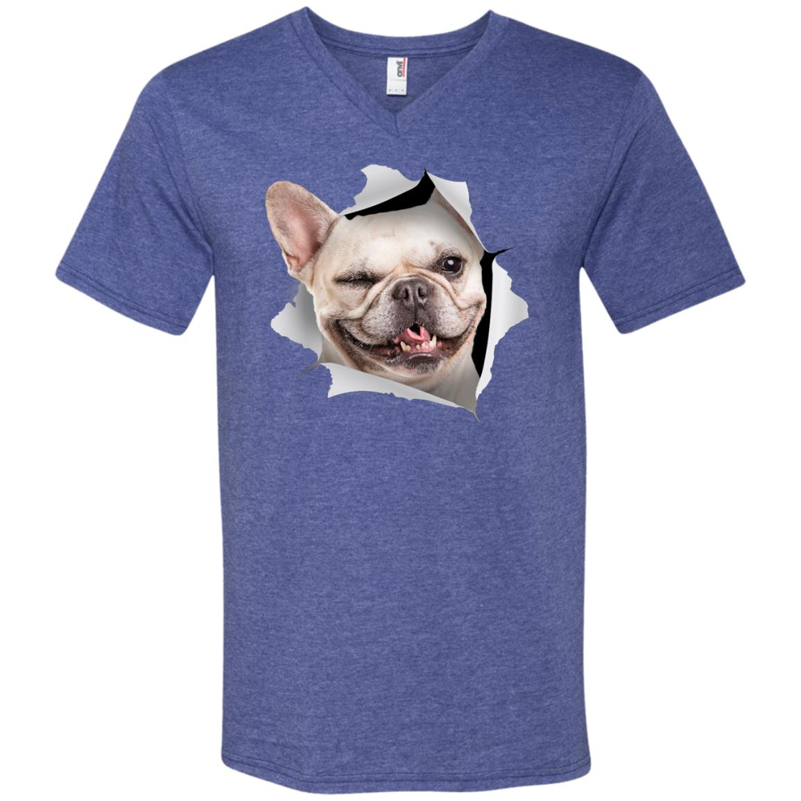 Winking Frenchie Men's Printed V-Neck T-Shirt