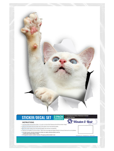 White Reaching Cat Decals