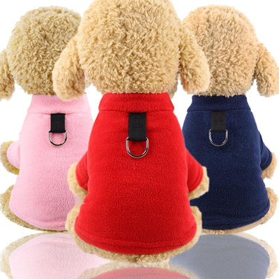 Soft Fleece Dog Sweater Harness With D-Ring
