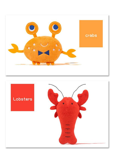 Plush Lobster and Crab Squeaky Seafood Plush Toy