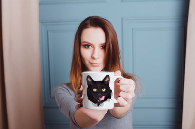 Hungry Black Cat Mug