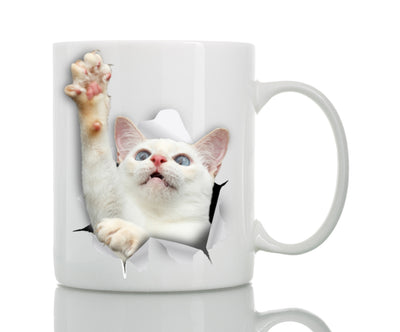 White Reaching Cat Mug
