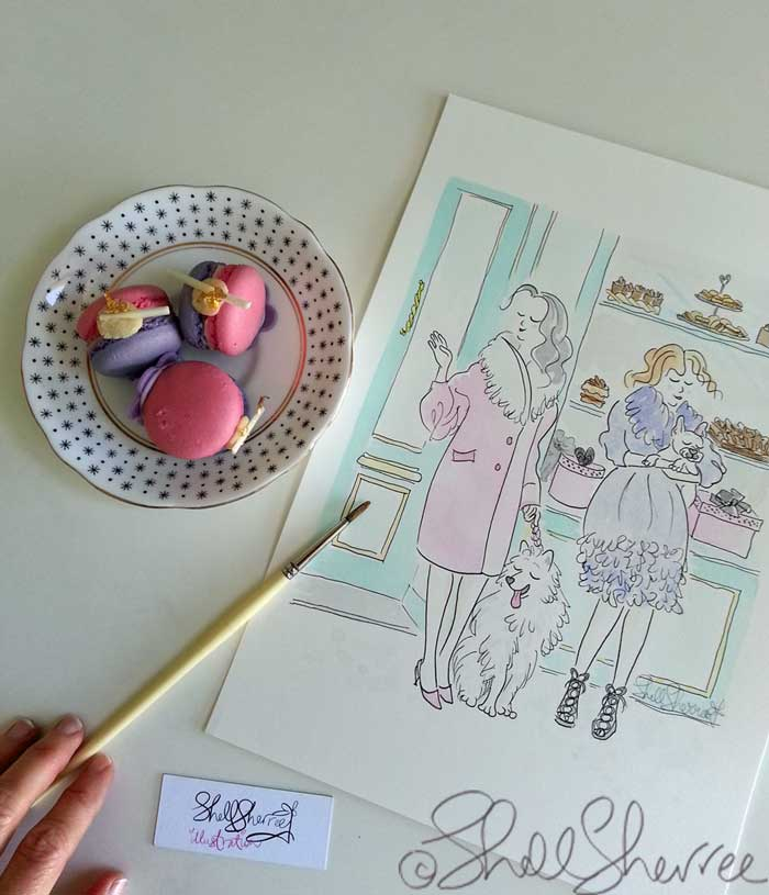 paris patisserie fashion illustration with fluffballs copyright shell sherree