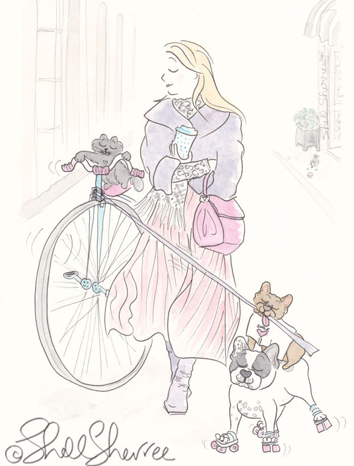 penny farthing, cat and french bulldogs illustration shell sherree